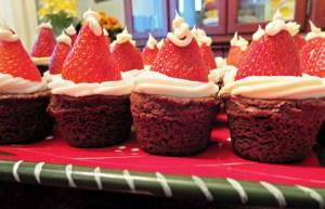 Strawberry Brownie Santa Hats