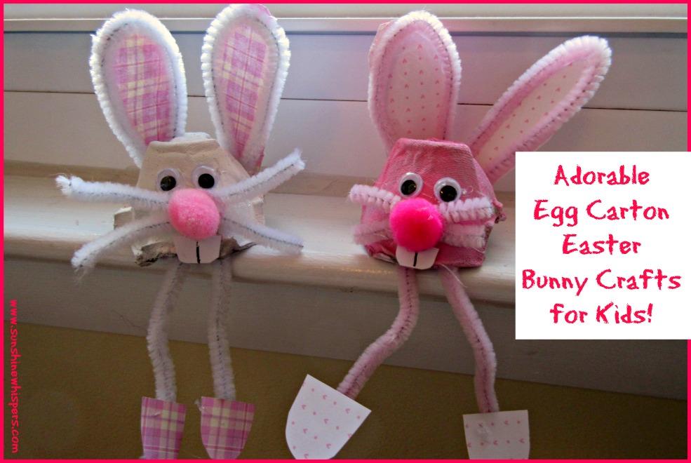 Egg carton easter bunny crafts for kids sunshine whispers for Styrofoam egg carton crafts
