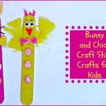 Bunny and Chick Craft Stick Crafts for Kids