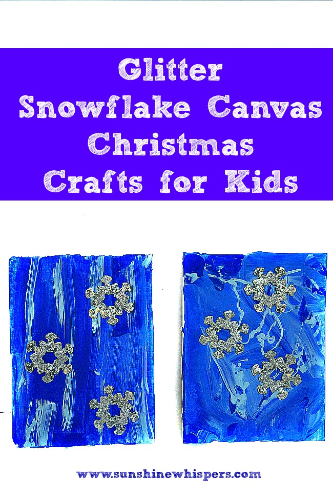 Glitter snowflake canvas christmas crafts for kids for Glitter crafts for kids