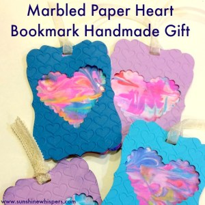 Marbled Paper Heart Bookmarks