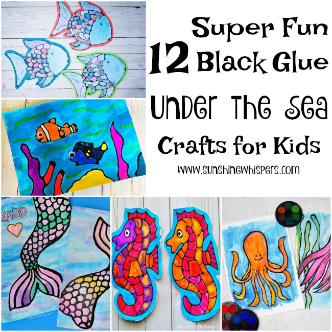 12 Super Fun Black Glue Under the Sea Crafts for Kids