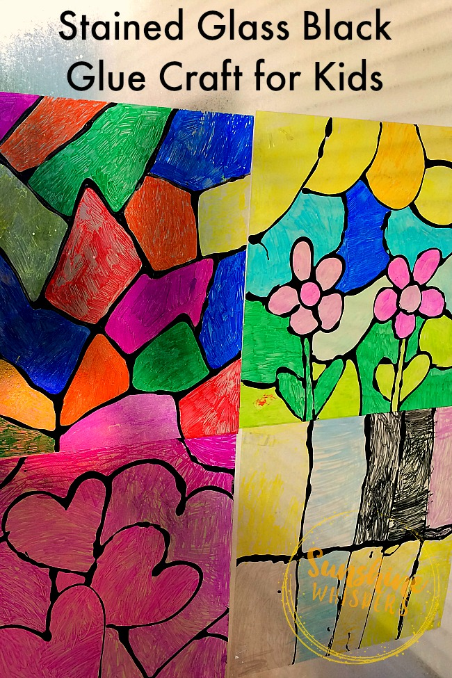stained glass black glue craft for kids