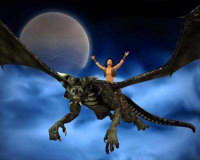 Man riding a dragon