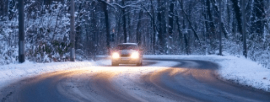 Car driving on snowy road habits success