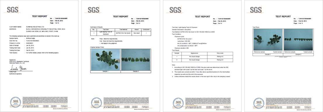 artificial-hedges-plants-light-ageing-test-UV-exposure-certification
