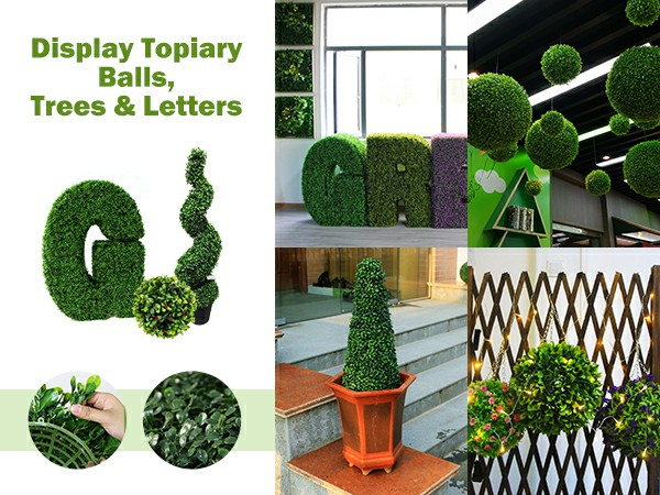 display topiary balls, trees & letters
