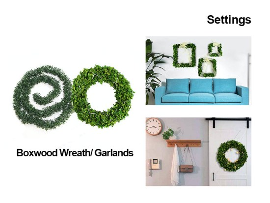 settings of boxwood wreath/garlands