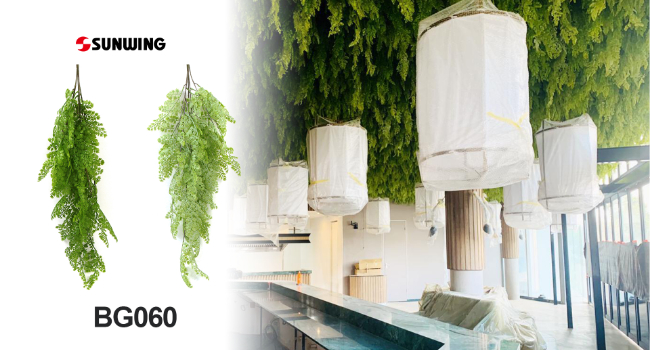 application of artificial hanging plants in bars