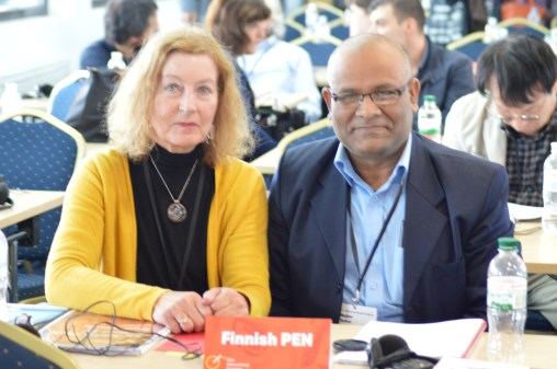Finnish PEN delegates Marianne Bargum and Mojibur Doftori