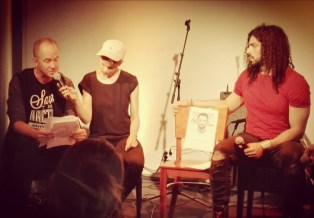 'A Letter from Tora Prison', Tommy Lindgren reading Galal's poem in English, Linda Fredriksson holding the mic. Photo: Johanna Sillanpää