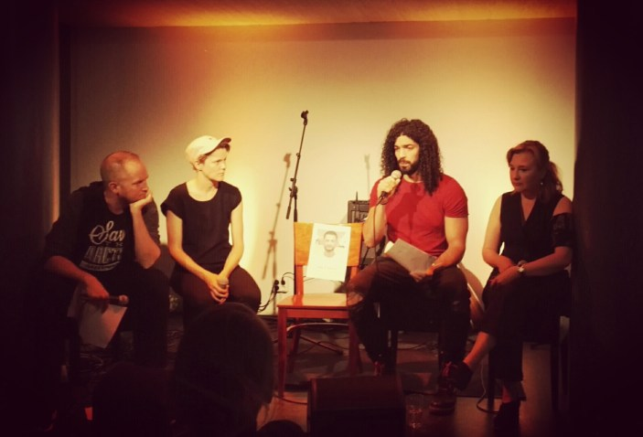 Iida Simes (right) hosted the panel with Ramy Essam, Linda Fredriksson and Tommy Lindgren - Galal at the centre. Photo: Johanna Sillanpää