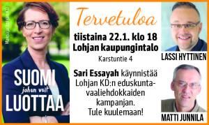 Sari Essayah käynnistää Lohjan KD:n eduskuntavaaliehdokkaiden kampanjan