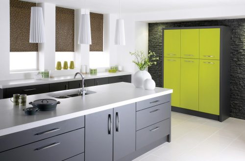 Modern green and grey fitted kitchen