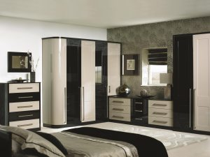 Bespoke bedroom. Modern black and cream finish