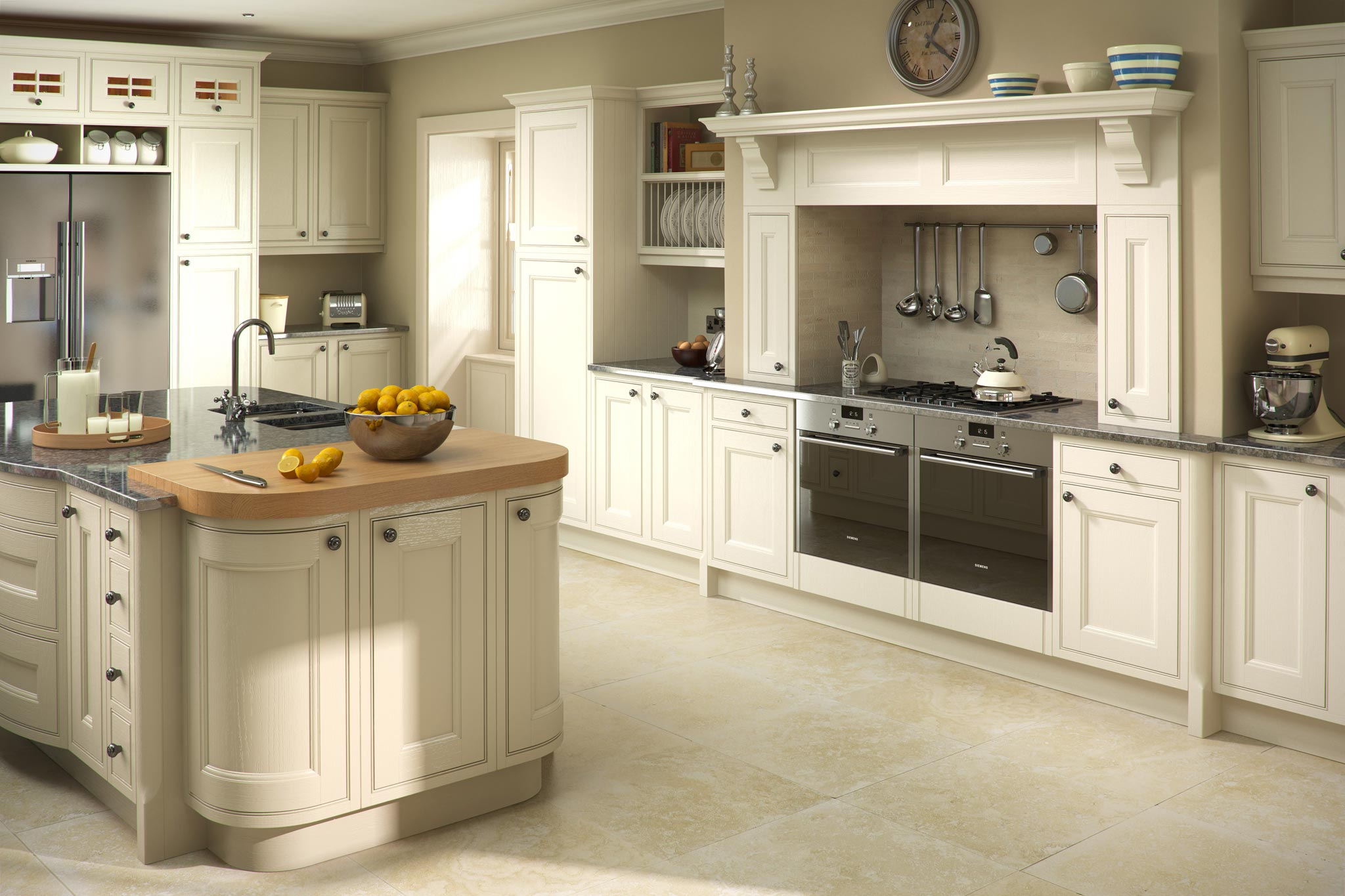 Modern White And Red Finish Bespoke Kitchens. Traditional Oak Putty Finish