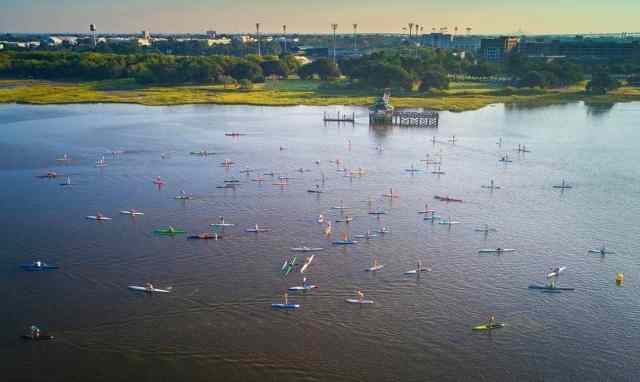 A mix of paddle boards, surf skis, and kayaks stormed through Brittlebank Park down the Ashley River, around Castle Pinckney and back.