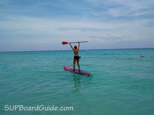 My fiancee enjoying the stand-up paddleboard