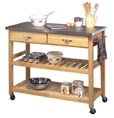 Home Styles Natural Designer Utility Cart With Stainless Steel Top