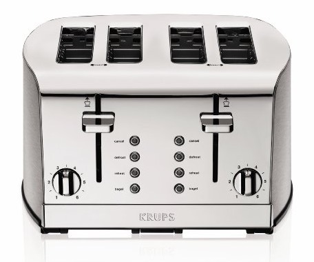 KRUPS KH734D Breakfast Set 4-Slice Toaster with Brushed and Chrome Stainless Steel Housing