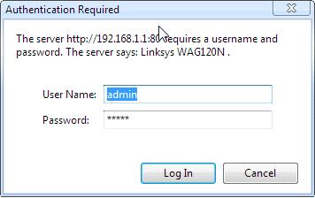 router username, password