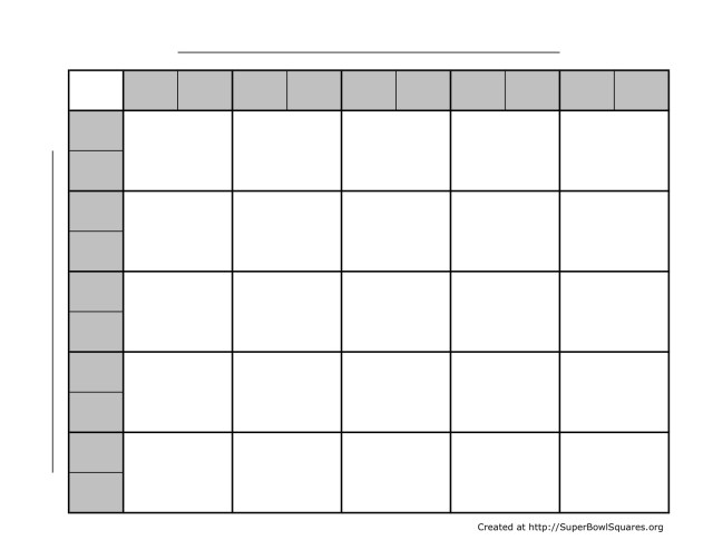Super Bowl Square Template  Free Download
