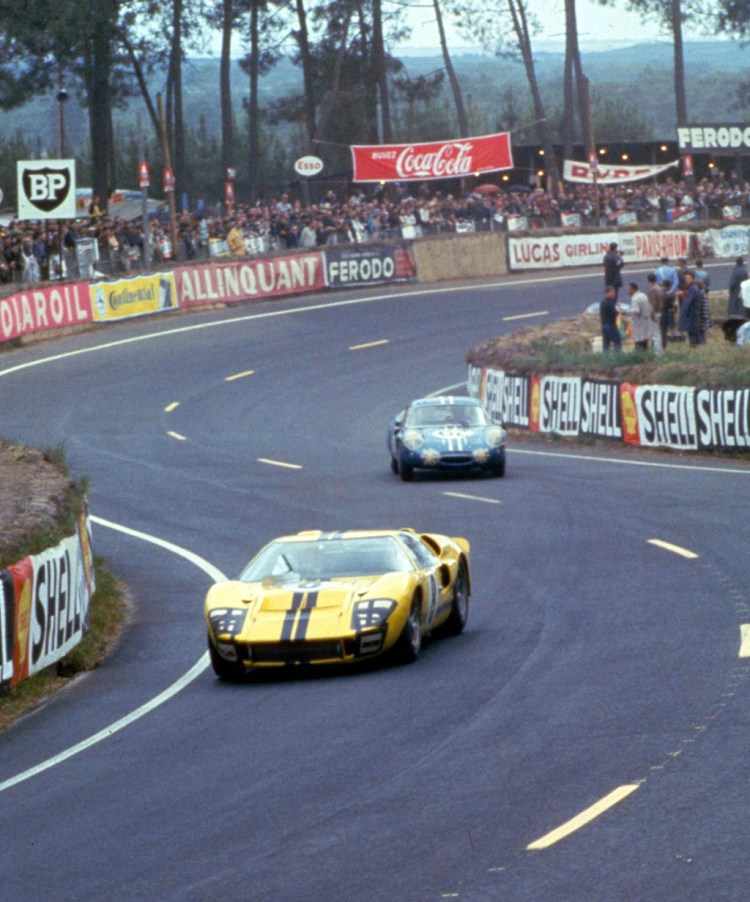 24 Hours of LeMans, LeMans, France, 1966. Sir John Whitmore/Frank Gardner Racing Ltd. Ford Mark II in the esses. CD#0554-3252-2890-15.