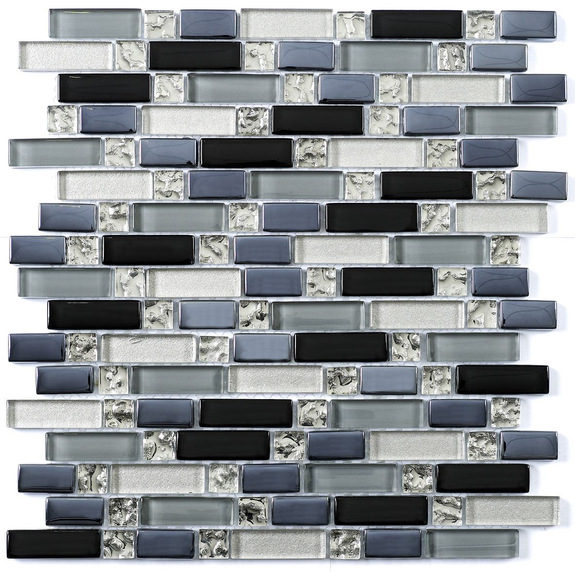 silver glass blue glass mix mosaic