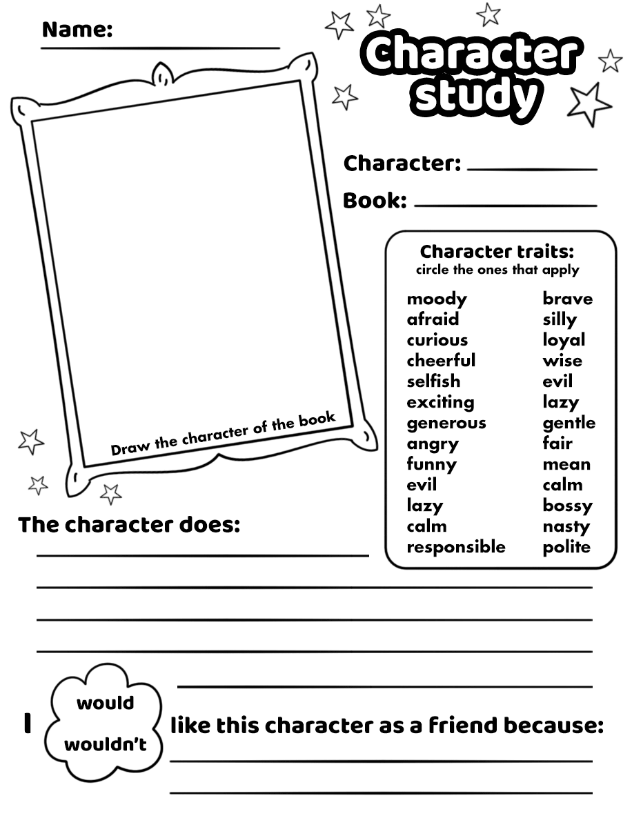 Character Study Worksheet Printable Template