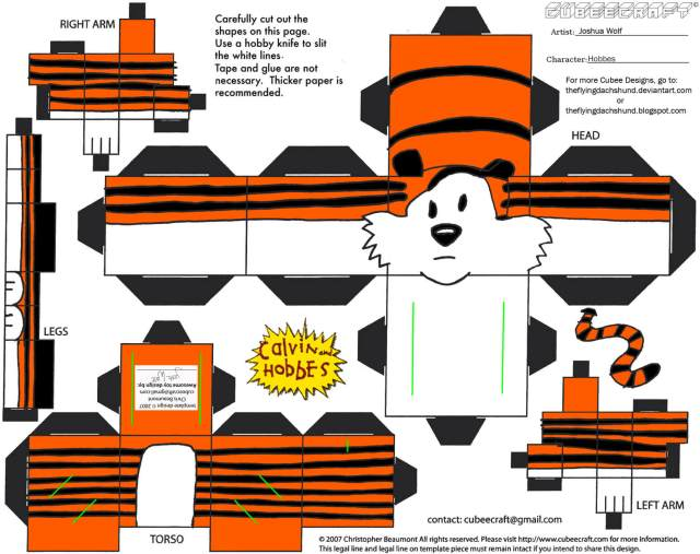 Hobbes from Calvin Paper Toy  Free Printable Papercraft Templates