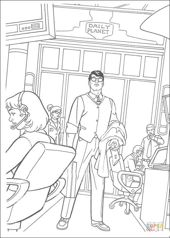Clark Kent In His Office Coloring Page Free Printable