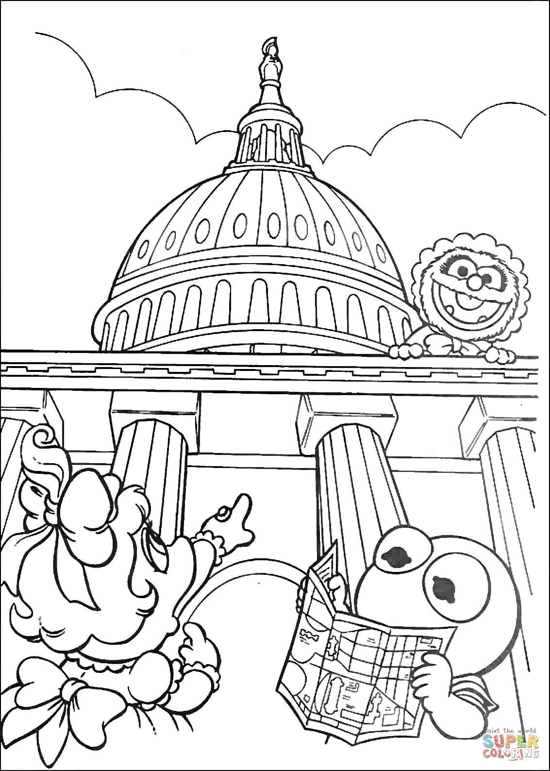 Muppet Babies In Washington D C Coloring Page