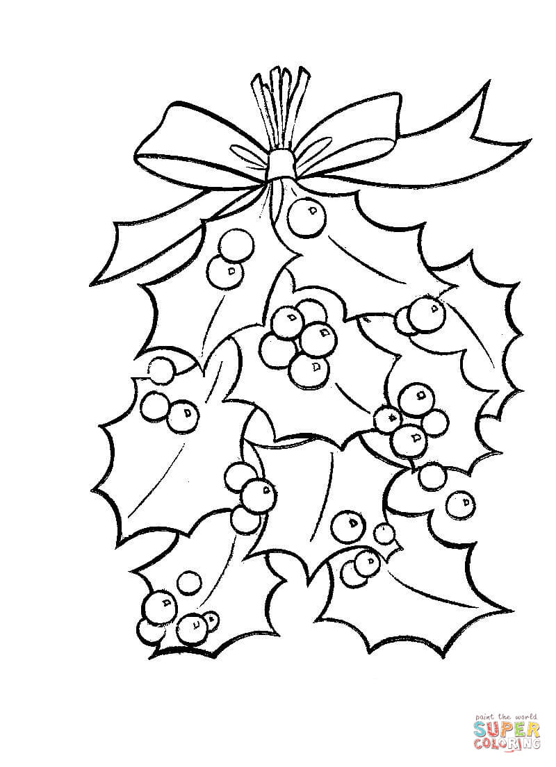 Holly Leaves With Bright Red Berries Coloring Page Free