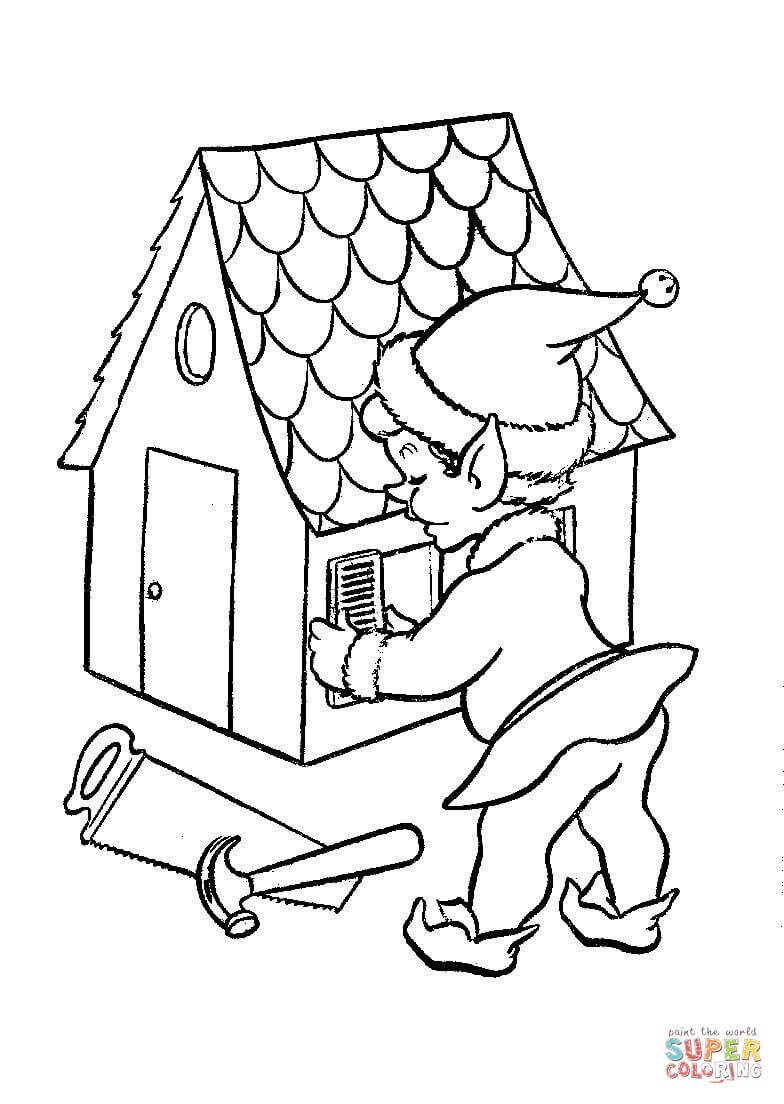 Visualizza altre idee su natale, disegni applique, decorazioni natalizie. Disegno Di Elfo Di Natale Costruisce Casetta Da Colorare Disegni Da Colorare E Stampare Gratis