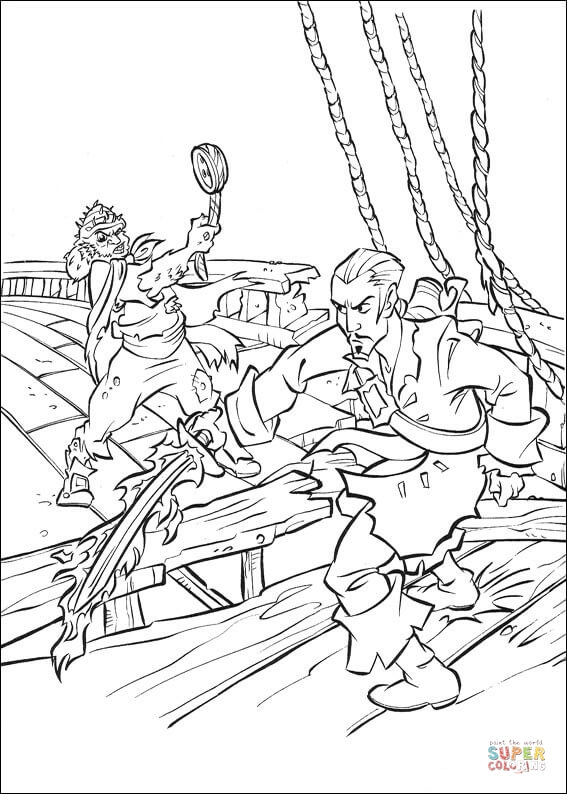Will Turner Fighting Scene Coloring Page Free Printable