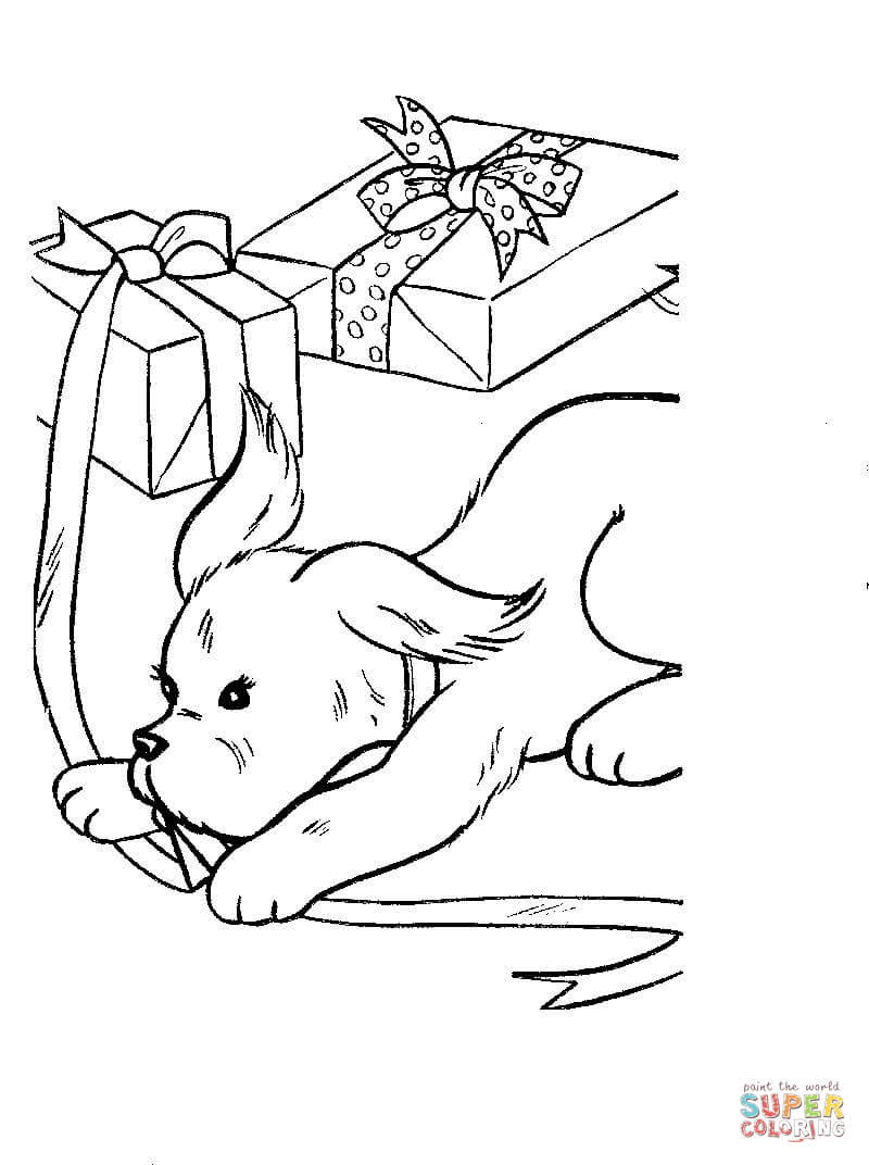 dog is playing  present boxes coloring page  free