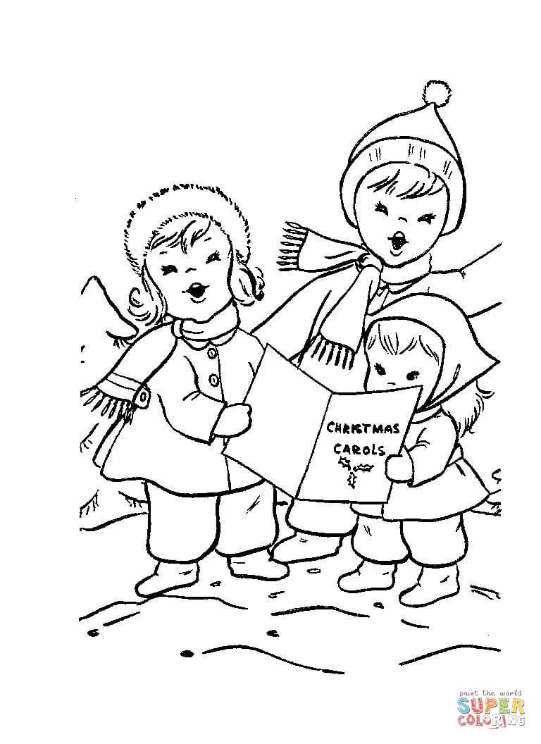 Ausmalbild Kinder Singen Weihnachtslieder Ausmalbilder