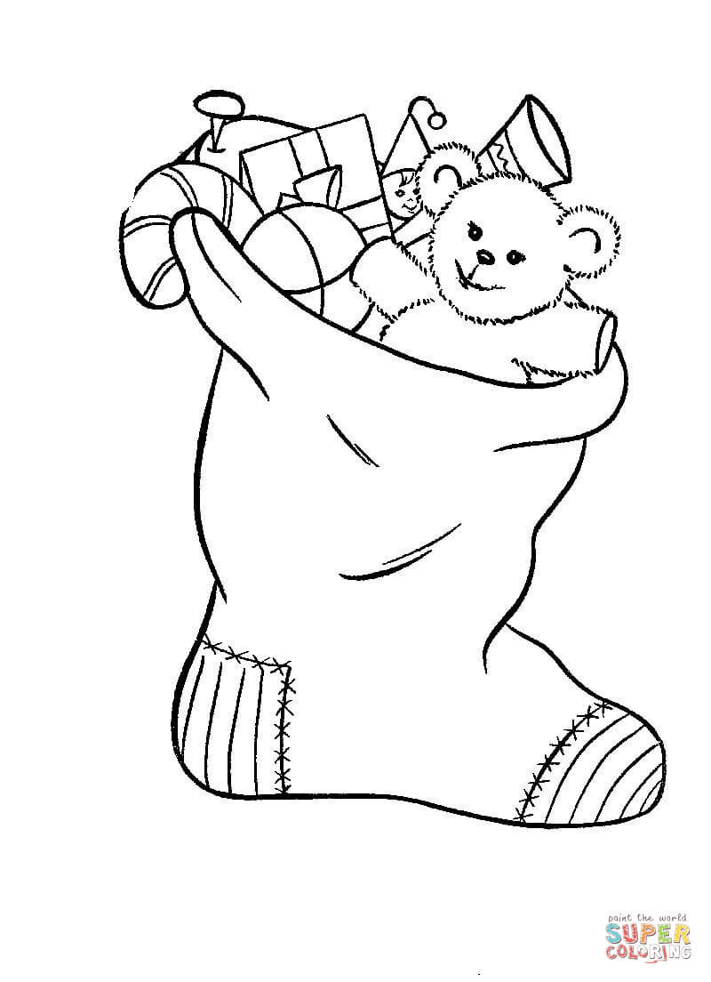Stocking Is Filled With Toys Coloring Page Free Printable