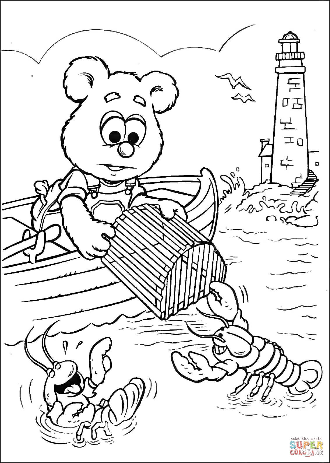 Baby Fozzie Is Fishing For Lobsters Coloring Page