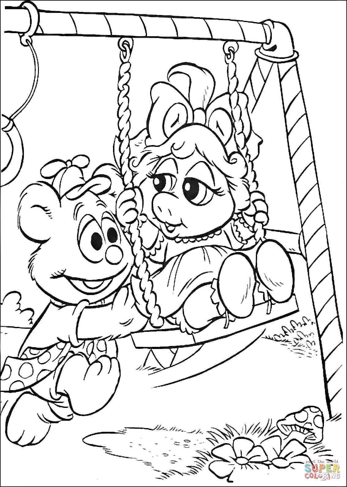 Baby Fozzie And Baby Miss Piggy On A Swings Coloring Page