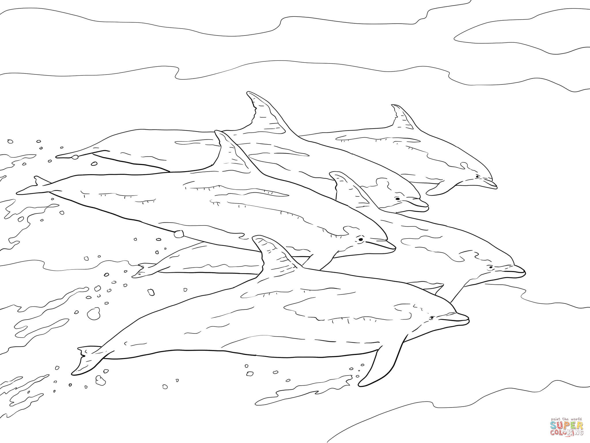 Bottlenose Dolphins School Coloring Page