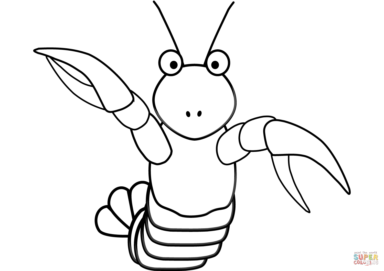 Cartoon Lobster Coloring Page