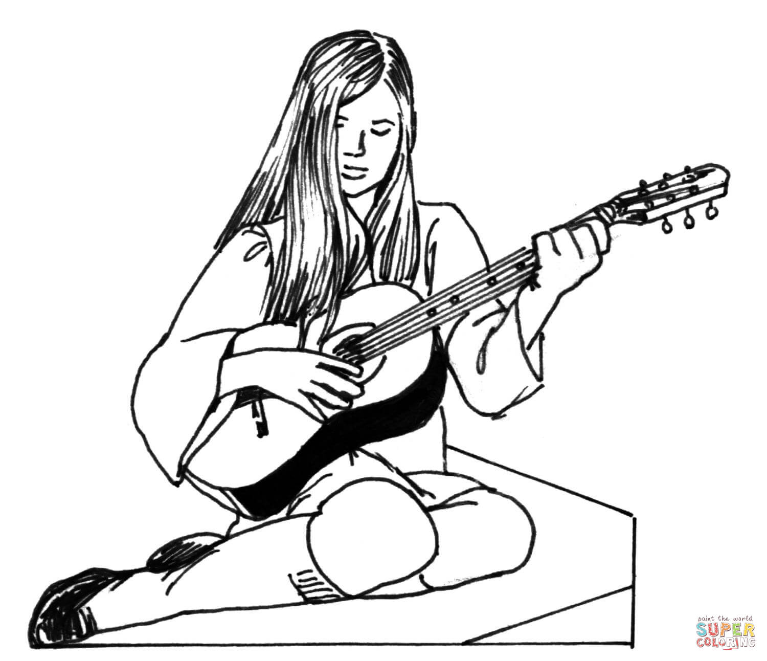 Girl Plays Guitar Coloring Page
