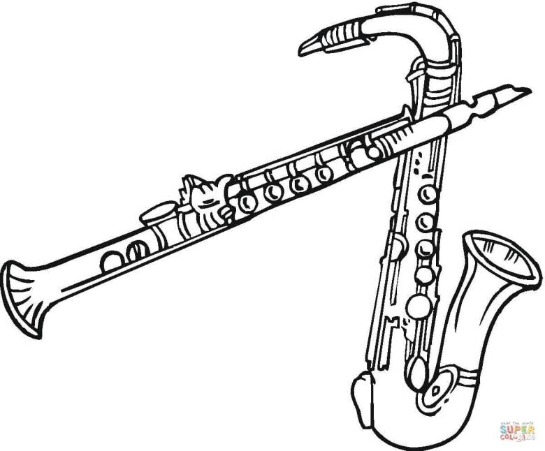 saxophones and clarinet coloring page | free printable coloring pages