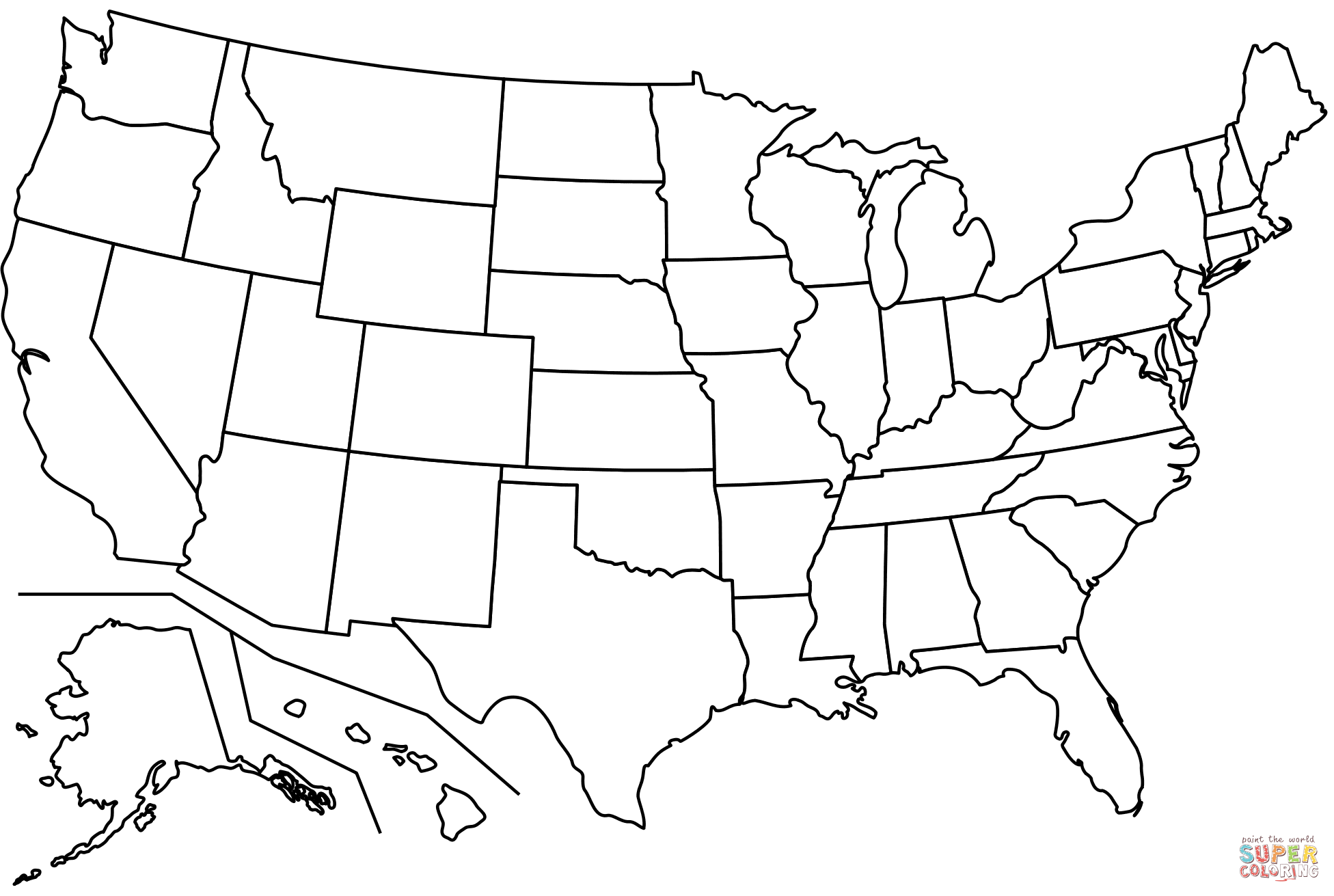 Outline Map Of Us States Coloring Page Free Printable Coloring Pages