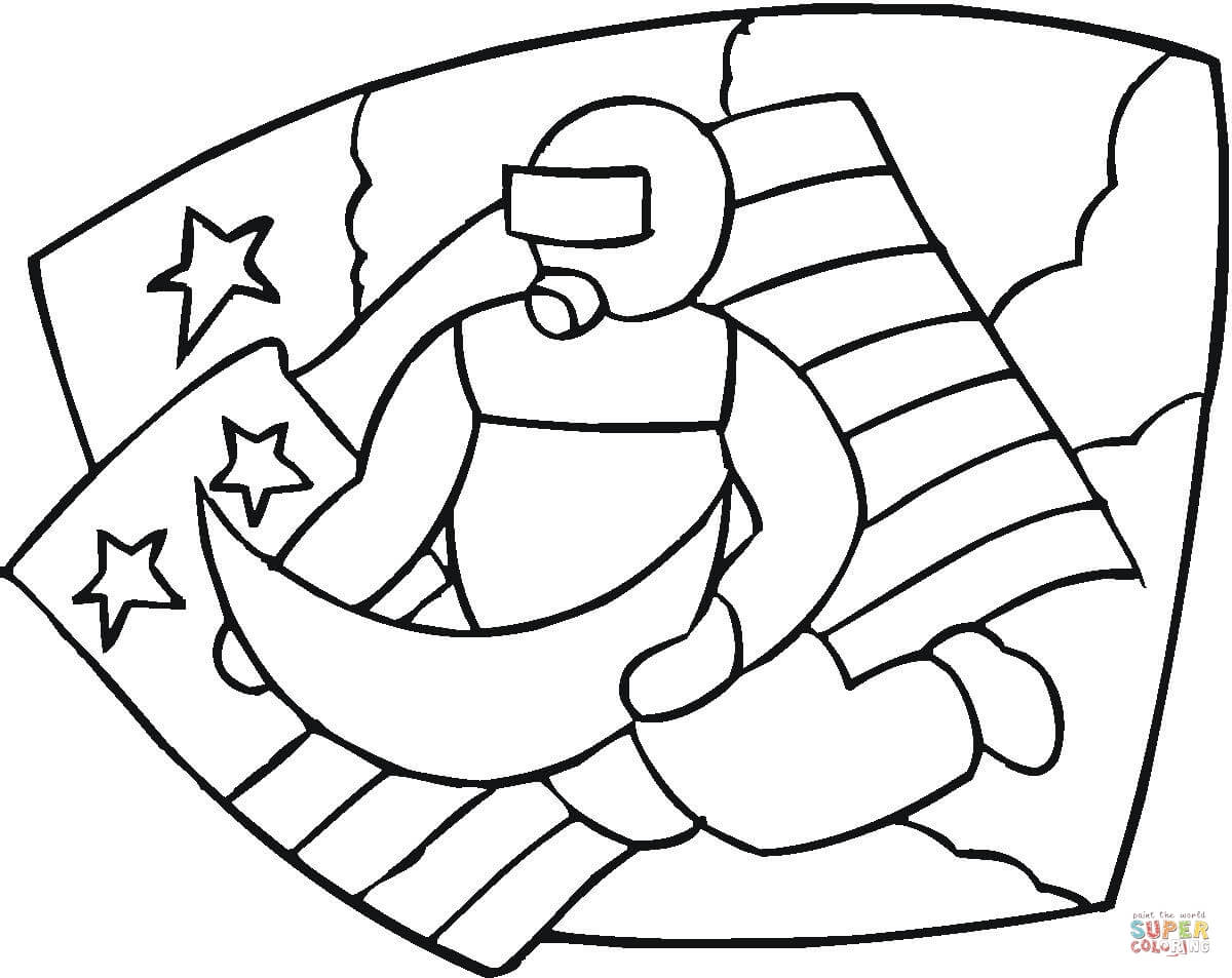 Astronaut Moon And American Flag Coloring Page