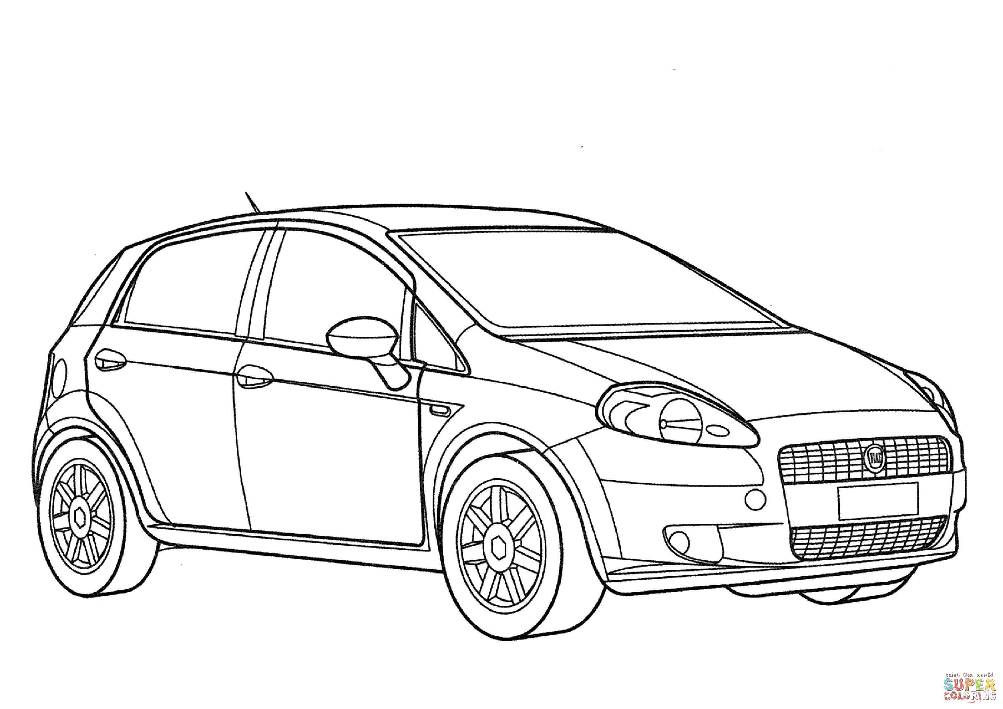 Fiat Grande Punto 3d Coloring Page Free Printable Coloring Pages