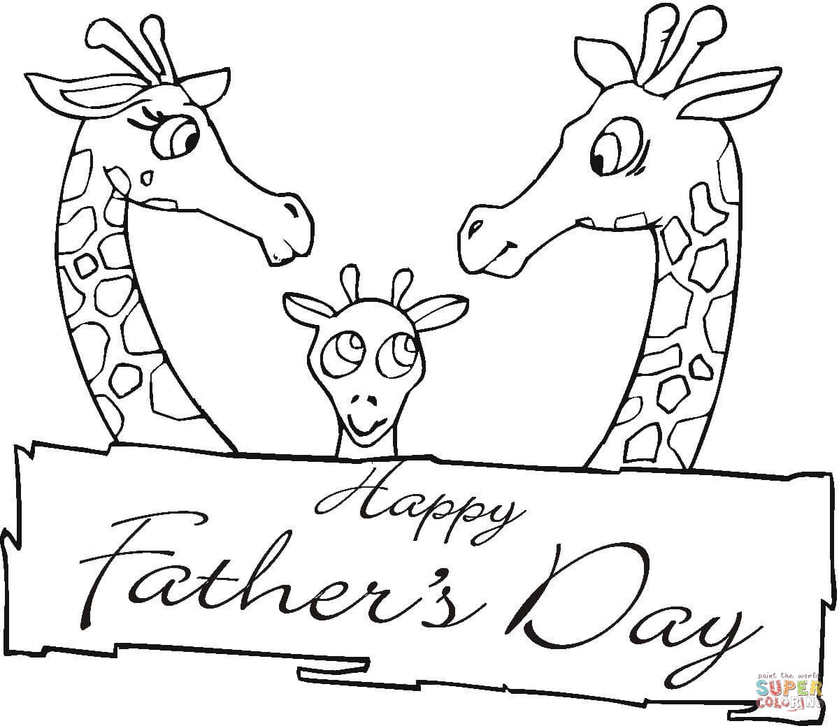 Giraffes Together On Father S Day Coloring Page