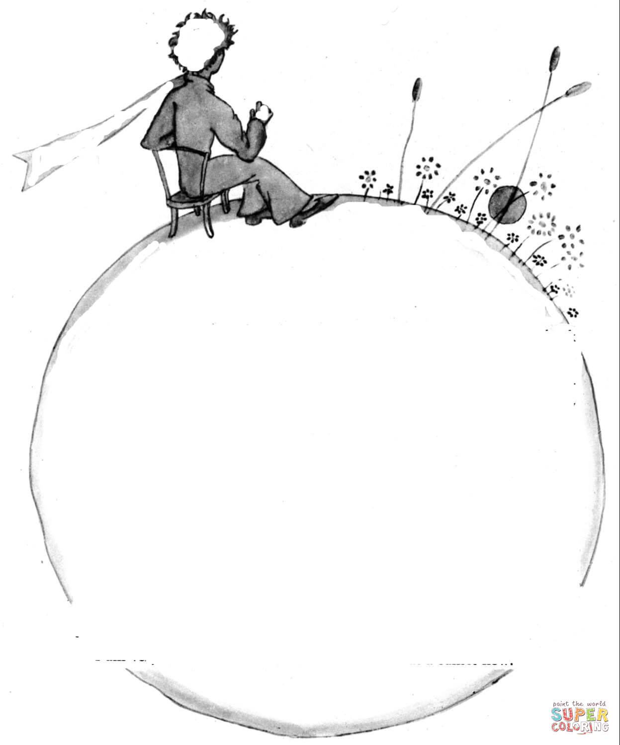 Little Prince On The Planet Coloring Page