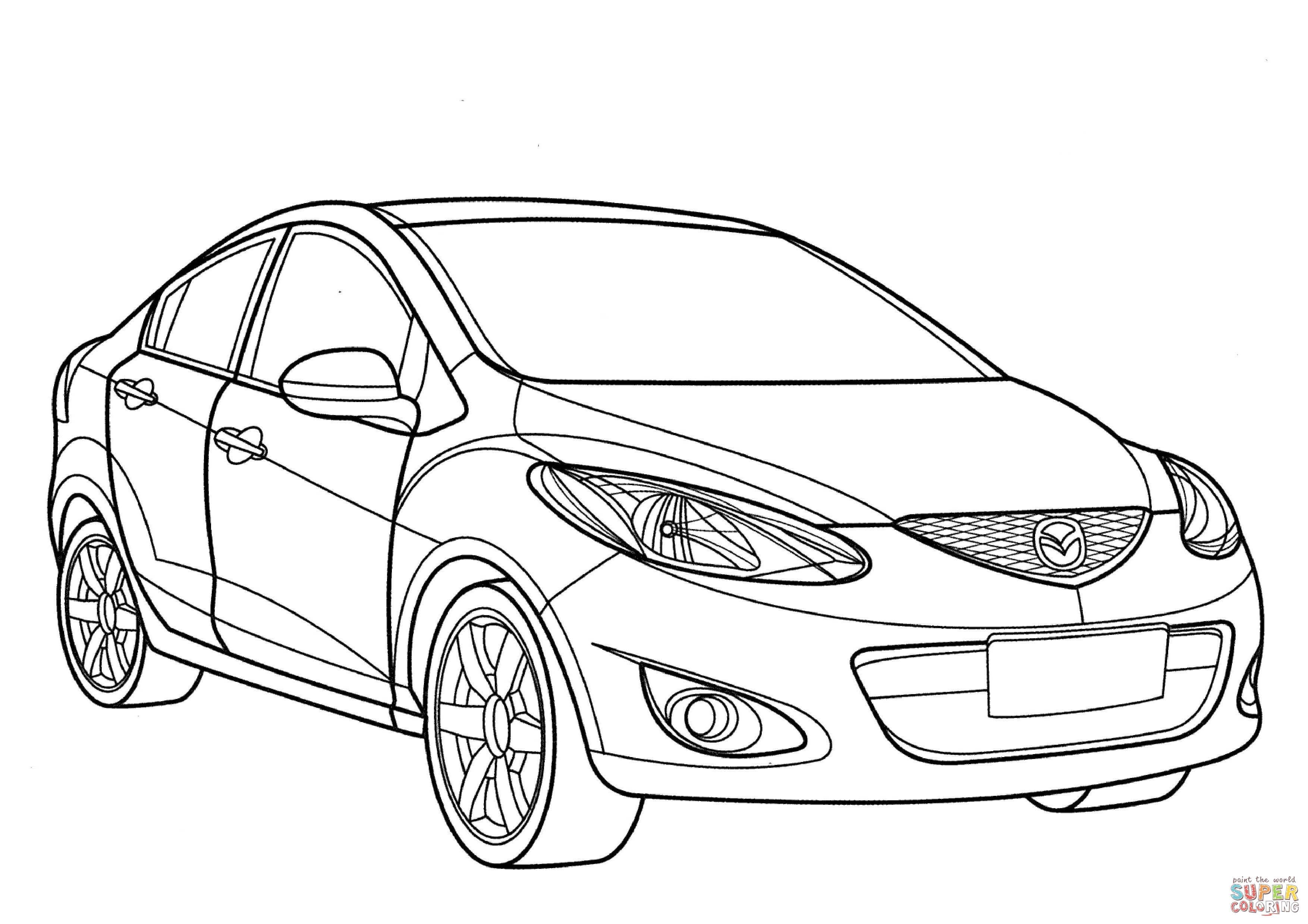 Mazda 2 Sedan Coloring Page